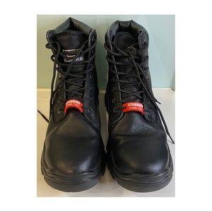 Men Piston Black Safety Stubbies leather laceup steel toe cap oil resistant sole